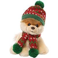 Enesco Gund  Peluche Cane Boo Berretto Sciarpa Natale, Tessuto, Multicolore, 19x20x23 cm - Enesco Natale
