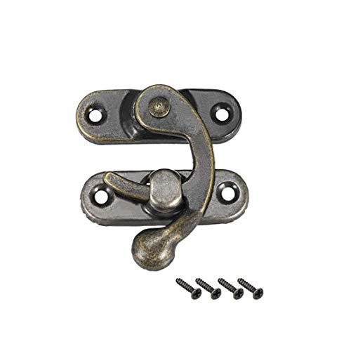 ZCHXD Antique Right Latch Hook Hasp, Swing Arm Latch Plated Bronze 4 Pcs w Screws -