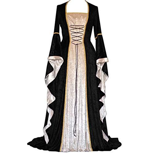 MAYOGO Damen Vintage Mittelalterlich Renaissance Gothic Cosplay Kleid Bodenlangen Retro Trachten Keltisch Kleidung Fun-Bekleidung Damen Bühnenkostüme Performance Kostüme Langarm Große Größen ()