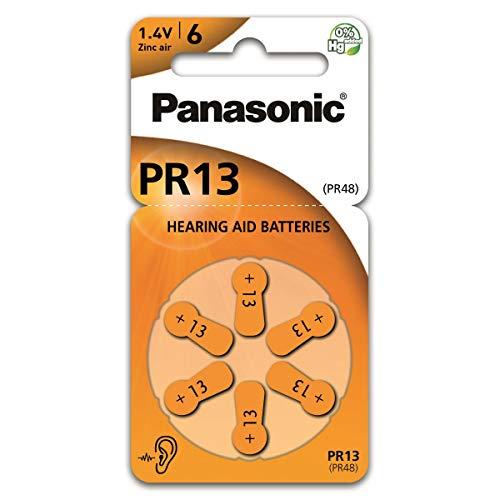 Panasonic PR13 Zink-Luft-Batterien für Hörgeräte, Typ 13, 1.4V, Hörgerätbatterien, 6er Pack, orange