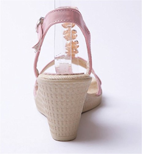 wealsex Sandales Bohême Fleur PU Cuir Compensée 7 CM Femme Bout Ouvert Confort Rose