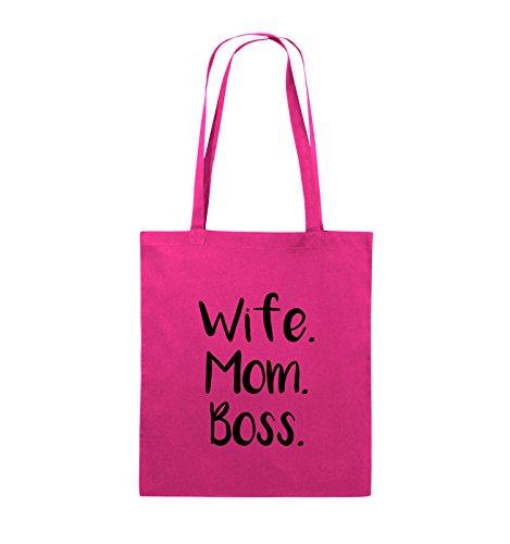 Comedy Bags - Wife Mom Boss - Jutebeutel - lange Henkel - 38x42cm - Farbe: Schwarz / Pink Pink / Schwarz
