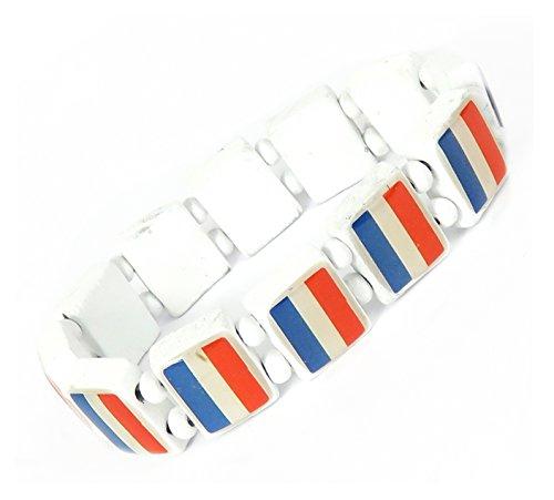 Lovely Lauri Unisex Holz Armband Damen Herren Motive Gummizug Flagge Frankreich Weiss