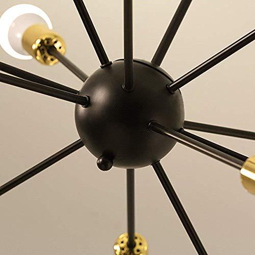 W-LI Kronleuchter 12 Lichter Industrielle Vintage Semi Flush Mount Pendent Lampe mit Schwarzer Fertigfassung Gold-Sockelbefestigung -