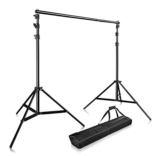 Foto Hintergrundsystem 3m x 2.8m Profi Fotostudio Set Teleskop Hintergrundsystem Studioset inkl. Tragtasche Stativ und Support system