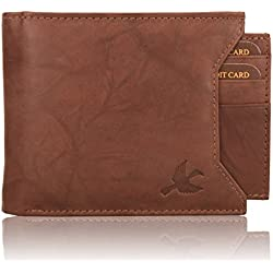 Hornbull Men's Washed Brown Rigohill Leather Wallet