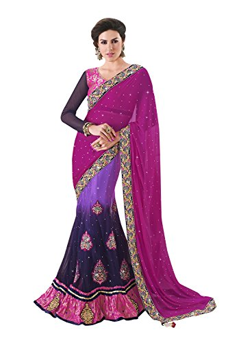 Viva N Diva Pink, Purple And Violet Color Chiffon, Net And Inner Satin Lehenga saree for women party wear  available at amazon for Rs.2799