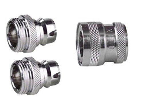 """Preisvergleich Produktbild Nito 1/2"""" Kupplung mit Innengewinde mit 2 x Steckverbinder 1/2"""" Außengewinde, verchromtes Edelmessing, zum leichten An-und Abklicken des Duschlauches - Kupplung 1/2 Zoll IG wird an Armatur geschraubt, Stecker mit 1/2 Zoll AG an Duschschlauch"""