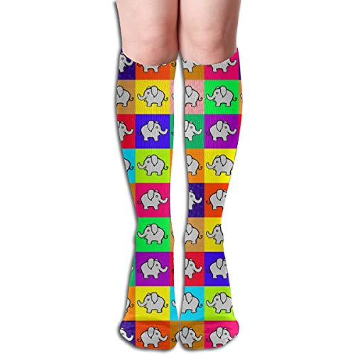 Cutie Pie Elephants On Squares Comfortable Adult Knee High Sock Gym Outdoor Socks 50cm 19.7inch Womens Cutie Pie