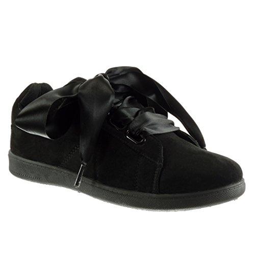 Angkorly Scarpe da Moda Sneaker Suola di Sneaker Donna Lacci in Raso Tacco Tacco Piatto 2 cm Nero
