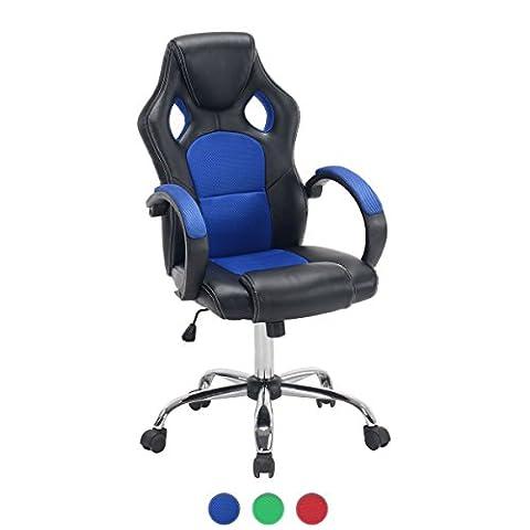 KAYELLES - Chaise de bureau sport Fauteuil Racing LICK - Siège Baquet (Bleu)