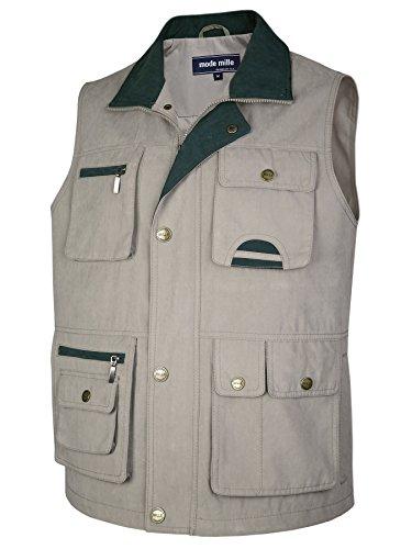 MIAN-MODE Herren Weste Outdoor Funktions-Weste Multi Taschen (XL, Beige) -
