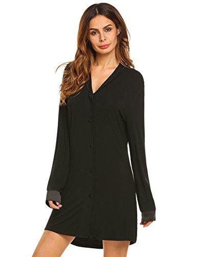 Nachthemd Damen Langarm Schlafkleid T-Shirt Pyjama Nachtwäsche Lang Hülsen Schlafanzugoberteil Nachtkleid Lange mit Taste