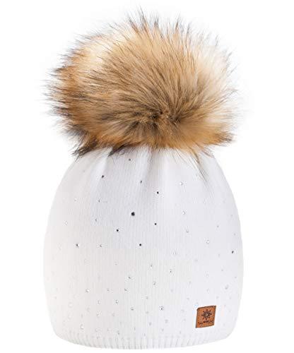 Winter Cappello Cristallo Più Grande Pelliccia Pom Pom invernale di lana Berretto Delle Signore Delle Donne Beanie hat Pera Sci Snowboard di moda MFAZ Morefaz Ltd (Ecru)