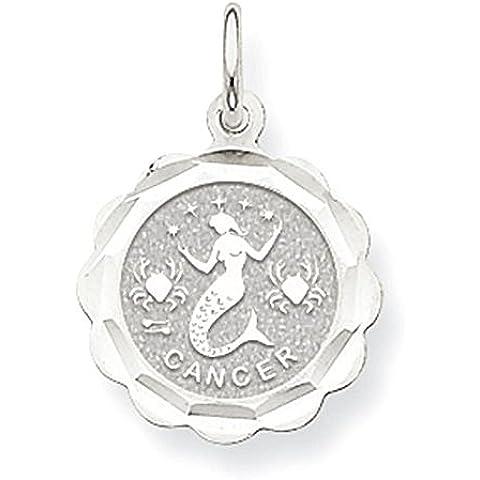 14k oro bianco di raso lucido incisione zodiacale Cancro smerlato Disc Char