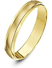 Theia 9ct Gold Super Heavy Weight D Shape Matt Centre Wedding Ring for Men and Women
