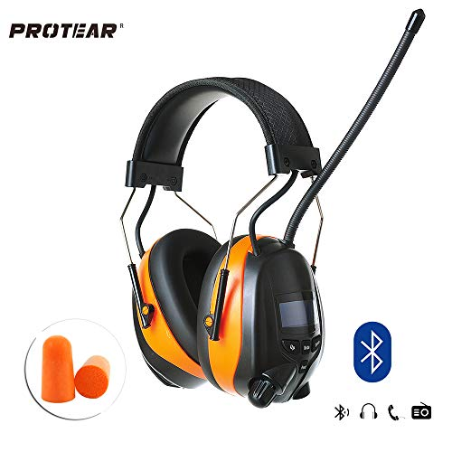 PROTEAR Drahtloser Bluetooth & AM FM Radio Gehörschutz Orange mit wiederaufladbarer Lithiumbatterie, SNR 30dB Elektronischer Gehörschützer Noise Reduction