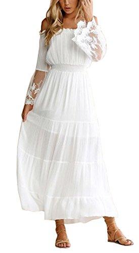 Ufatansy Damen Sommerkleider Spitze Lange Ärmel Schulterfreies Kleid Weißes Strandkleid Swing Boho Kleid (White, L) (Weißes Kleid Frauen Party)