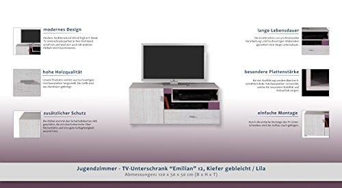 """Jugendzimmer – TV – Unterschrank """"Emilian"""" 12, Kiefer gebleicht / Lila – Abmessungen: 120 x 50 x 50 cm (B x H x T) - 2"""