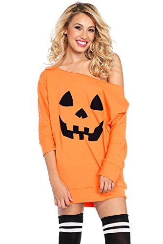 Aleumdr Damen Halloween Kleid mit Kürbis Print One Shoulder Fledermausärmel Off-shoulder Minikleid Gelb Large