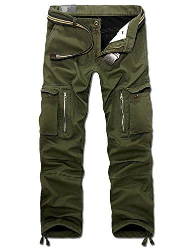 Menschwear Herren Cargo Hosen Freizeit Multi-Taschen Fleece gefütterte (33,Grün) (Quiksilver-gefütterte Shorts)