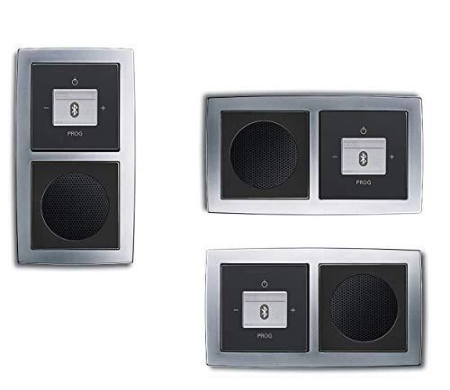 Busch Jäger Unterputz Bluetooth Radio 8217 U (8217U) chrom matt Rahmen + schwarz matte Abdeckungen (sehr edel!) Radioeinheit + Lautsprecher + 2fach Rahmen + Abdeckungen