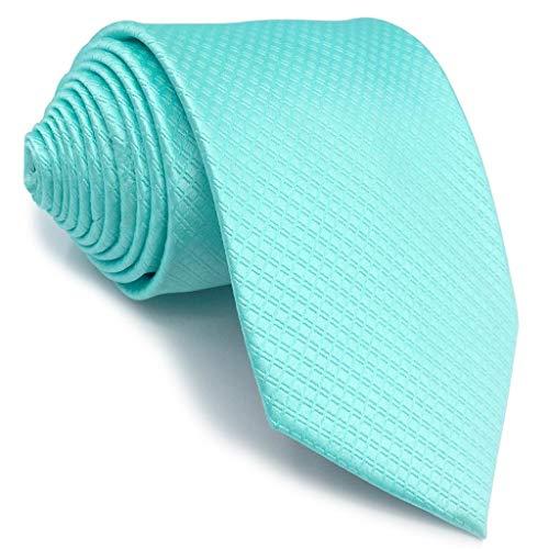 shlax&wing Nuevo único Hombre Seda Corbatas Para Türkis Color Sólido Extra largo