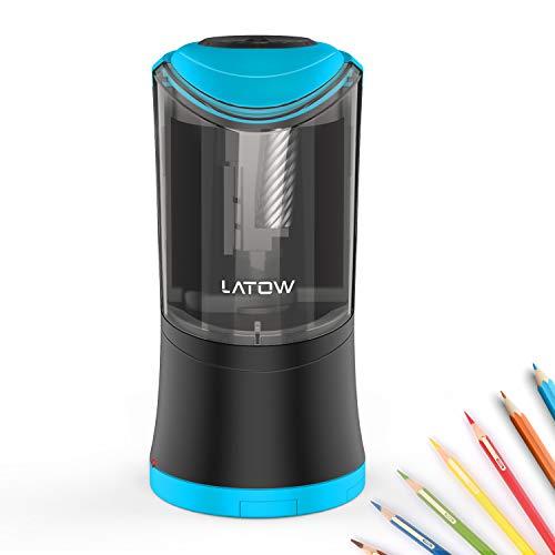 Elektrischer Anspitzer, LATOW 3 Größen Stahlfräser Bleistiftspitzer, Automatischer Dreifachanspitzer-Dose, für Stift 8/10/12 mm, Geeignet für Linkshänder sowie Rechtshänder
