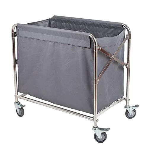 Salon Trolleys Trolley Hotel Serving Utility Storage Cart, Wäschesortierwagen Faltwagen Wäschewagen, tragbare Reinigungswagen mit langlebigen Rollen, dunkelgrau