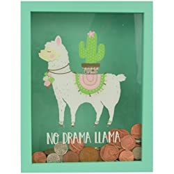No Drama Llama Wooden Money Box With Clear Glass Front