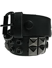 Mens Womens Black Pyramid & Black Button Punk Studded 38mm Wide Jeans Belt Made In England B219