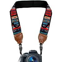 Correa para cámara de fotos de Neopreno USA Gear   Perfecta para camaras Reflex, Evil y compactas   Bolsillos flexibles de neopreno para Accesorios. Ideal para Canon, Nikon, Sony y muchas más. Diseño Aztec
