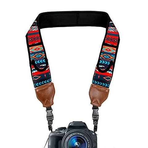USA GEAR Sangle Courroie Cordon Tour de Cou Appareil Photo DSLR & SLR - Coussins en Néoprène Rembourrés & Pochettes de Rangement - Compatible avec Canon EOS 700D , Nikon D3300 , Pentax et