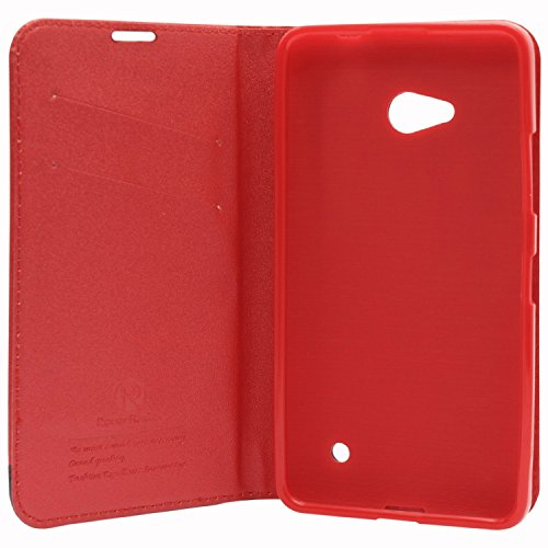 DMG Microsoft Lumia 640 XL Flip Cover, DMG PRaiders Premium Magnetic Wallet Stand Cover Case for Microsoft Lumia 640 XL (Red) + Touch Screen Stylus