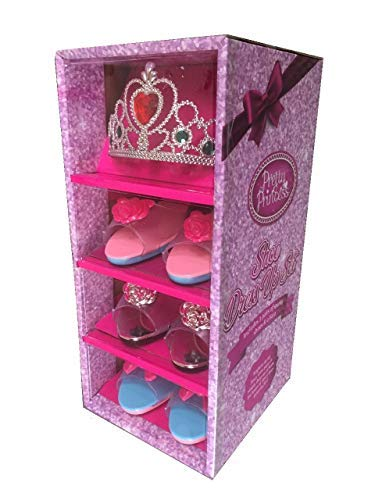 Girls Pink Pretty Princess Shoes Diamante Dress Up Fancy Gift Set (Set of 3 Shoes & Pink Tiara) by pretty ()