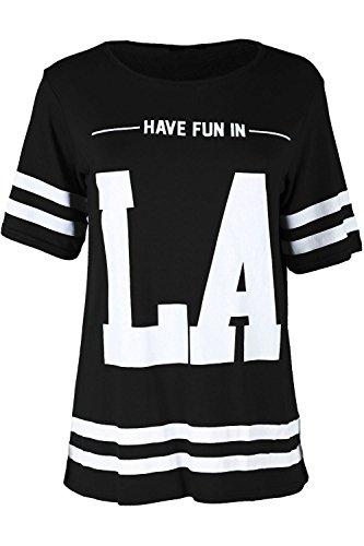 Damen HAVE FUN IN LA Bedruckt Streifen Varsity Baseball Fußball Übergroßer  Baggy-Stil T-