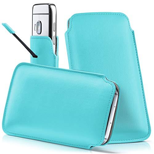 moex HTC One S9 | Hülle Türkis Sleeve Slide Cover Ultra-Slim Schutzhülle Dünn Handyhülle für HTC One S9 Case Full Body Handytasche Kunst-Leder Tasche