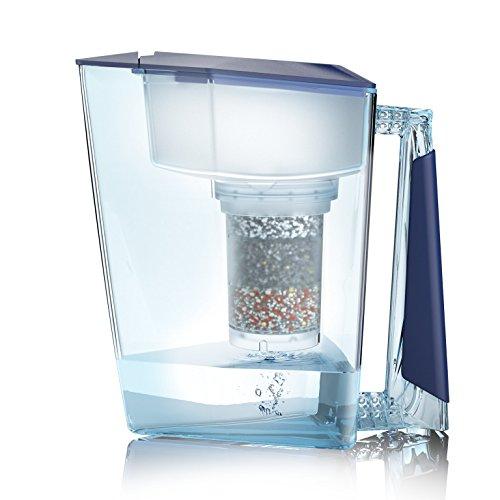 Wasserfilter MAUNAWAI® Premium Bio Made in Germany inkl. 1 Trinkwasserkanne +1 Filterkatusche und Filterpad (für 3 Monate) - Blau, Trinkwasserfilter + Filterkanne