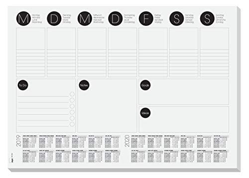Sigel HO506 Papier-Schreibunterlage A3 mit 2-Jahres-Kalender, Wochenplaner, To-Do-Liste, 30 Blatt -...