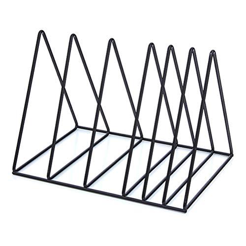 Oyria Dreieckiges Bücherregal,stabiles Desktop-Bücherregal, Zeitschriftenständer-Halter,Schreibtisch-Organizer,Dokumentenschrank mit 9 Abschnitten für Heimstudenten, schwarz