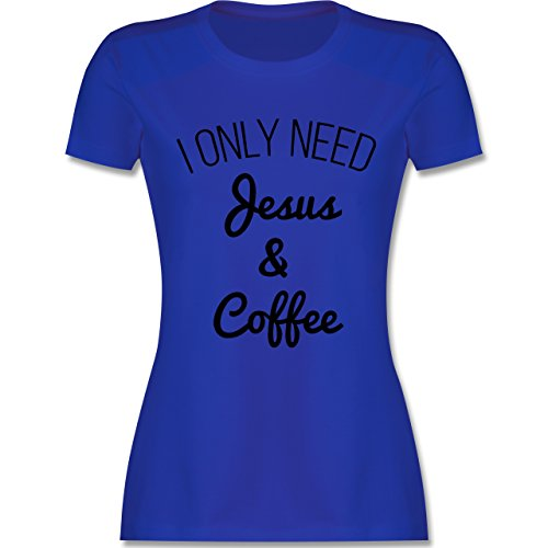 Statement Glaube Religion - I only need Jesus and Coffee schwarz - Damen T-Shirt Royalblau