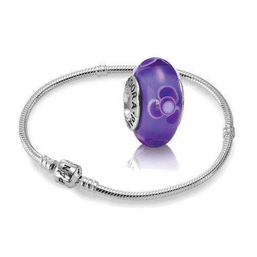 Original-PANDORA-Starterset-Geschenkset-925er-Sterling-Silber-1-Silber-Armband-Gre-20-cm-ArtNr-590702HV-20-und-1-Murano-Charm-lila-ArtNr-790643
