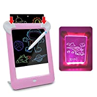 AMERTEER Kids LCD Writing Tablet,10 Inch Writing Doodle Board | 3D LED Luminous Magic Drawing Pad Toys -ABC Graphics Handwriting Tablet for Kids Toddlers, Erasable Sketching Notepad (Pink)