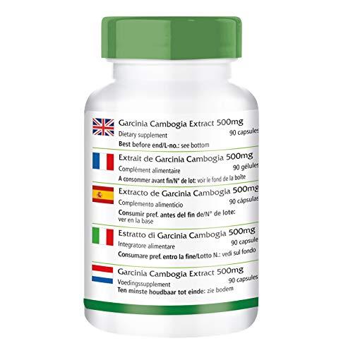 Garcinia Cambogia Extrakt 500mg – für 1 Monat – VEGAN – HOCHDOSIERT – 90 Kapseln – standardisiert auf 60% HCA