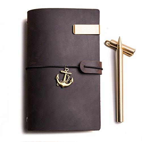 Travelers Notebook | Tagebuch Leder, 6-Ring Vintage Notizbuch & Notizbücher & Zeitschriften Personal Organizer (Dunkelbraun, A6)