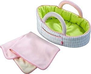 HABA 305071 - Bolsa de Transporte para muñecas, Color Verde Manzana, Accesorios para muñecas y muñecas de Tela (Bolsa de Transporte y Manta, Juguete a Partir de 18 Meses)
