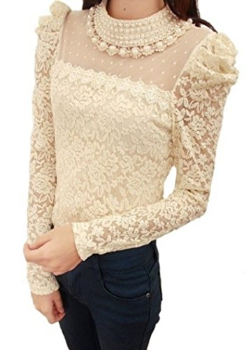 Pomo-Z Women's Long Sleeve Embroidery Pearl Sheer Lace Crochet Blouse (Apricot, L)
