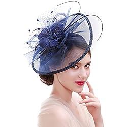 dressfan Fascinador Flor Malla Cinta Headwear Mujer Velo Diadema Pinzas para el cabello Hairband Tocado Accesorios para el cabello