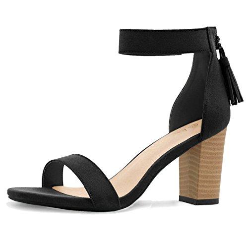 Allegra K femmes haut talon Chunky Fermeture Gland chaussent sandales Black