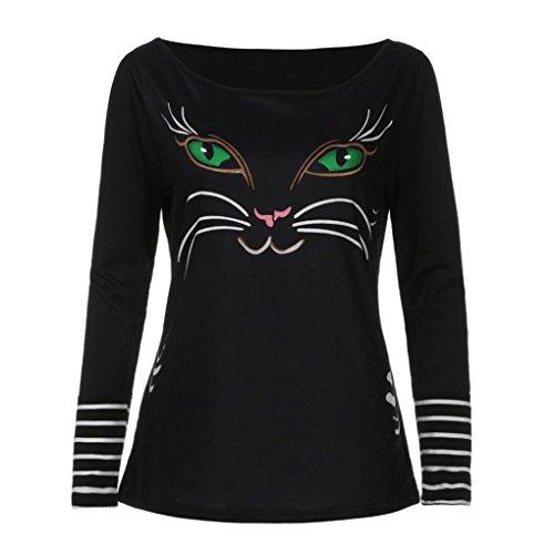 Bluse Damen Elegant Langarmshirt T-Shirt Reteo Oberteil Sommer Langarm Tops Frühling Leopard Shirt (XL, Schwarz) (Leather Knit Baggy)